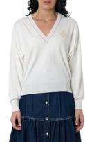 Chloé V-neck Wool Blend Sweater Color White