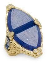 Judith Ripka Diamond, Lapis & 18K Yellow Gold Ring