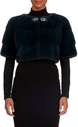 Zac Posen Jewel-Neckline Mink Fur Bolero Jacket