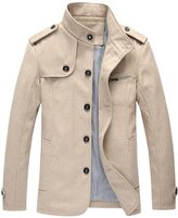 QIYUN.Z Men England Gentlemen Stand Collar Single-Breasted Autumn Winter Thicken Jacket