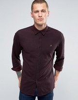 Farah Shirt In Pique Cotton Slim Fit Port