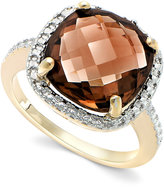 Victoria Townsend 18k Gold over Sterling Silver Smokey Quartz (6-3/4 ct. t.w.) and Diamond Accent Square Ring