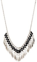 Lois Hill Sterling Silver Black Onyx Bead & Scroll Detail Fringe Necklace