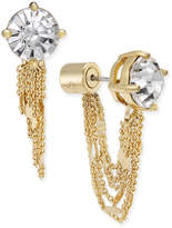 Kate Spade Gold-Tone Crystal Stud and Chain Earring Jackets