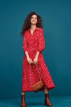 Next Womens Red Cherry Print Midi Shirt Dress - Red