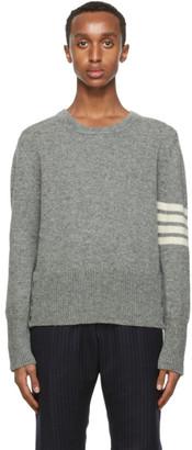 Thom Browne Grey Wool Jersey Knit 4-Bar Sweater