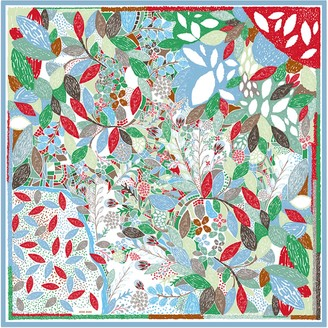 Double Sided Silk Scarf Of Garden With Fallen Flowers
