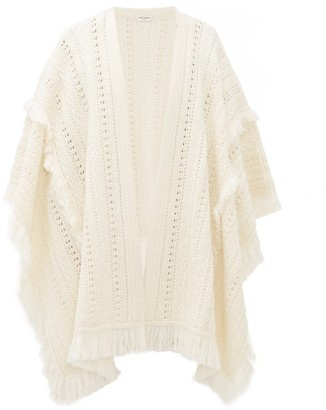 Saint Laurent Fringed Crochet Wool Poncho - Womens - White