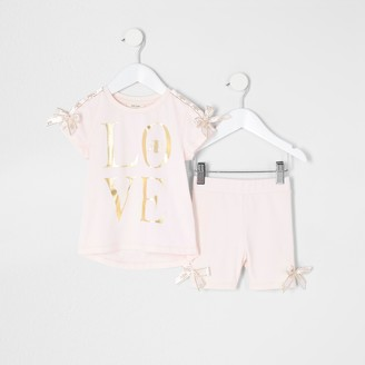 River Island Mini girls Pink 'Love' bow T-shirt outfit
