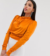 Asos Tall DESIGN Tall cowl neck long sleeve backless top in orange