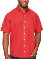 Van Heusen Wrinkle Free Button Down Shirt Short Sleeve Checked Button-Front Shirt-Big and Tall