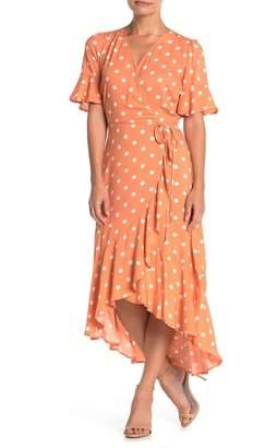 MelloDay Ruffled Faux Wrap High/Low Midi Dress