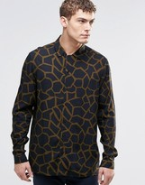 Asos Giraffe Print Shirt With Revere Collar In Viscose And Long Sleeve