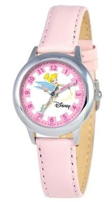 Disney Tinker Bell Girls'Stainless Steel Time Teacher Watch, Pink Leather Strap