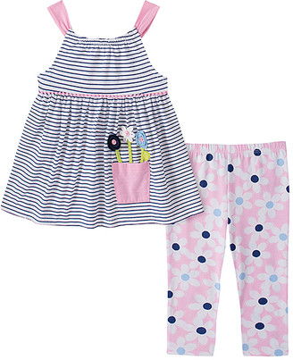 Kids Headquarters Girls' Leggings ASSORTED - Navy Stripe A-Line Tank & Pink Floral Leggings - Infant, Toddler & Girls