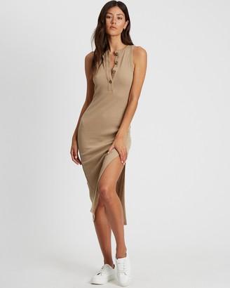Calli - Women's Neutrals Midi Dresses - Grace Tank Midi Dress - Size 12 at The Iconic