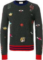 Gucci crew neck embroidered jumper