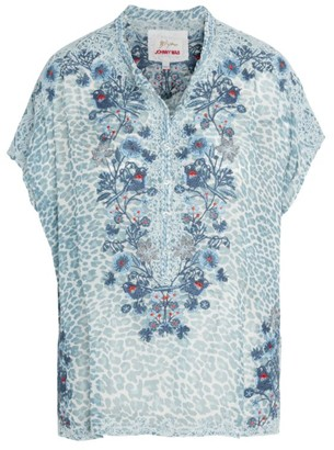 Johnny Was Bluewell Silk Chiffon Blouse