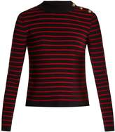 RED Valentino Striped open-back cotton sweater