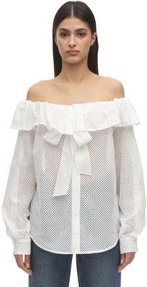 pushBUTTON Off-The-Shoulder Cotton Eyelet Shirt