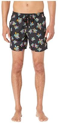 Vilebrequin Moorea Over the Rainbow Turtles Swim Trunks (Black) Men's Swimwear
