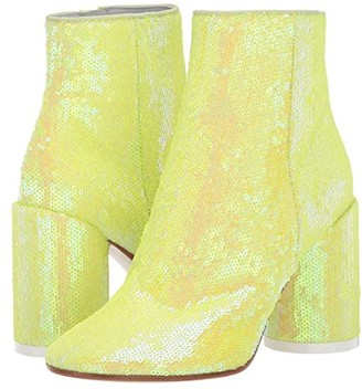 MM6 MAISON MARGIELA Classic Round Heel Sequin Boot (Blazing Yellow) Women's Shoes
