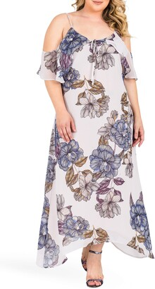 Standards & Practices Matilda Floral Cold Shoulder Chiffon Maxi Dress