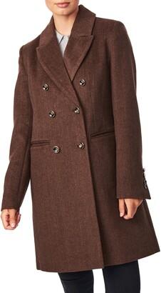 Bernardo Double Breasted Herringbone Coat