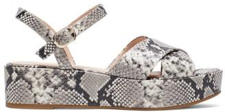 Kate Spade Bunton Snakeskin-Embossed Leather Flatform Sandals