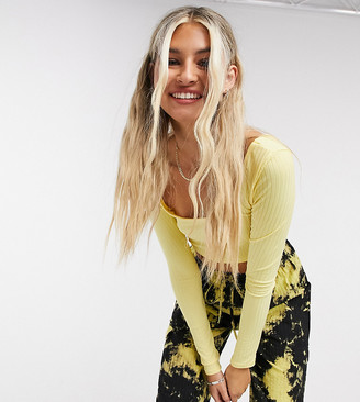 Collusion square neck long sleeve rib top in lemon