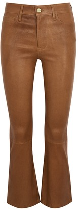 Frame Le Crop brown bootcut leather trousers