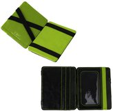 YCM020303 Black Green Yellow Leather Magic Wallet with Card Holders Luxury For Boyfriend With Gift Box By Y&G