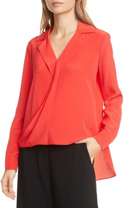 Judith And Charles Gehry Wrap Front Silk Georgette Blouse