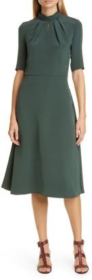 Adam Lippes Twist Neck 3/4 Length Sleeve Crepe Dress