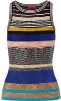 Missoni Striped Crochet-knit Tank - Blue