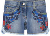 Ermanno Scervino Jean shorts with embroidered flowers