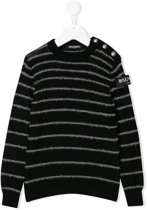 Balmain Kids Striped Knit Sweater