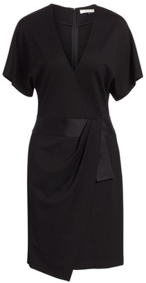 Halston Faux Wrap Multi Needle Waist Dress