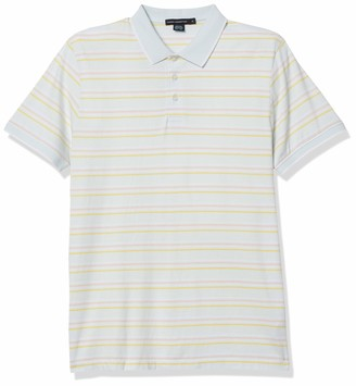 French Connection Men's Short Sleeve Stripe Cotton Polo Shirt