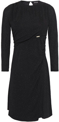 Just Cavalli Wrap-effect Glittered Stretch-knit Mini Dress