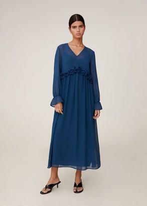 MANGO Ruffled midi dress petrol blue - 10 - Women