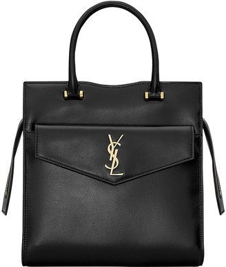 Saint Laurent Uptown Small Shiny Smooth Leather Tote Bag