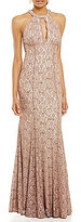 R & M Richards Halter Glitter Lace A-line Gown
