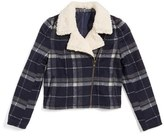 Girl's Treasure&bond Plaid Jacket With Faux Shearling Trim