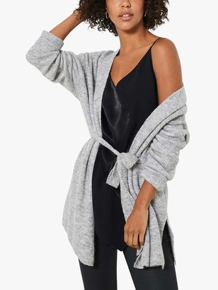 Mint Velvet Longline Belted Cardigan, Light Grey