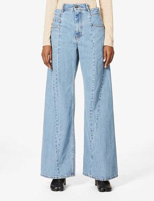 Maison Margiela Asymmetric wide-leg high-rise jeans