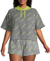 Flirtitude Juniors Plus Womens Short Sleeve French Terry Hoodie