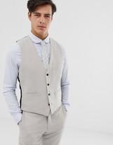 French Connection wedding slim fit plain linen waistcoat-Grey