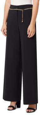 Tahari ASL Wide-Leg Pants With Chain Belt