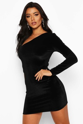 boohoo Velvet One Shoulder Bodycon Dress
